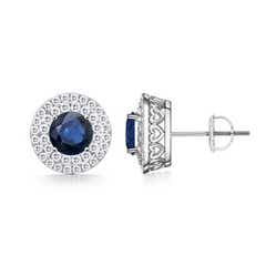 Double Halo Vintage Style Round Sapphire Stud Earrings