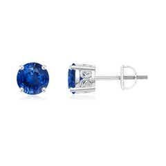 Vintage Style Round Blue Sapphire Solitaire Stud Earrings