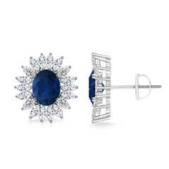 Vintage Style Oval Sapphire Studs with Floral Diamond Halo