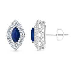 Double Halo Marquise Blue Sapphire Stud Earrings
