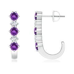 Amethyst and Diamond J-Hoop Earrings