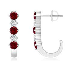 Garnet and Diamond J-Hoop Earrings