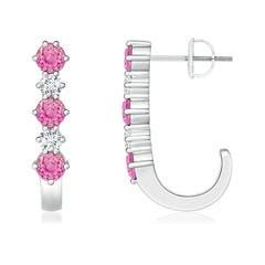 Pink Sapphire and Diamond J-Hoop Earrings