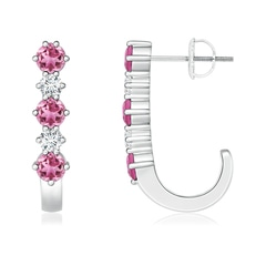 Pink Tourmaline and Diamond J-Hoop Earrings