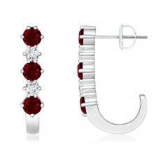 Ruby and Diamond J-Hoop Earrings