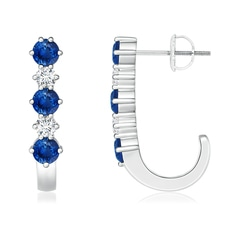 Blue Sapphire and Diamond J-Hoop Earrings