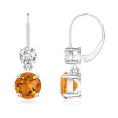 Round Citrine Leverback Dangle Earrings with Diamond