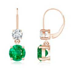 GIA Certified Round Emerald Leverback Earrings with Diamond