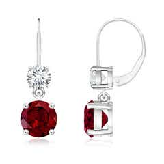 Round Garnet Leverback Dangle Earrings with Diamond