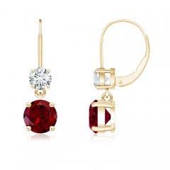 Round Garnet Leverback Dangle Earrings with Diamond