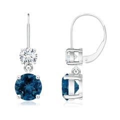 Round London Blue Topaz Leverback Dangle Earrings