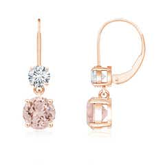 Round Morganite Leverback Dangle Earrings with Diamond
