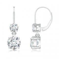 Angara Round Opal Leverback Dangle Earrings with Diamond bka0u
