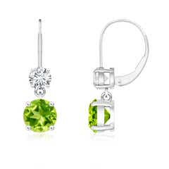 Round Peridot Leverback Dangle Earrings with Diamond