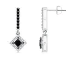 Floating Princess-Cut Enhanced Black Diamond Dangle Earrings
