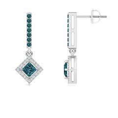Floating Princess-Cut Enhanced Blue Diamond Dangle Earrings