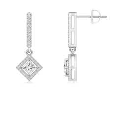 Floating Princess-Cut Diamond Dangle Earrings