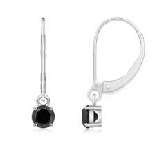 Round Enhanced Black Diamond Leverback Earrings