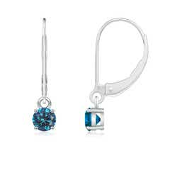 Solitaire Round Enhanced Blue Diamond Leverback Earrings
