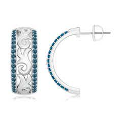 Vintage Style Pave Set Enhanced Blue Diamond Half Hoop Earrings