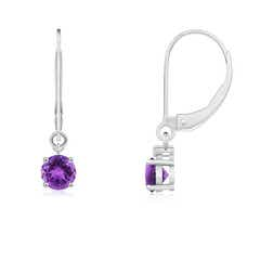 Angara Amethyst Open Circle Drop Earrings with Diamond Accents qyxS6k1