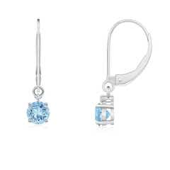Solitaire Aquamarine Dangle Earrings with Diamond
