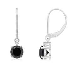 Solitaire Enhanced Black Diamond Dangle Earrings