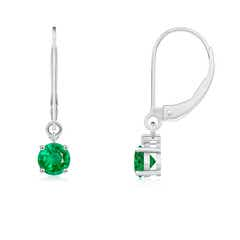 Solitaire Emerald Dangle Earrings with Diamond