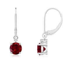 Solitaire Garnet Dangle Earrings with Diamond