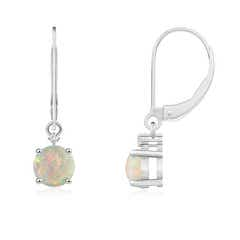 Solitaire Opal Dangle Earrings with Diamond