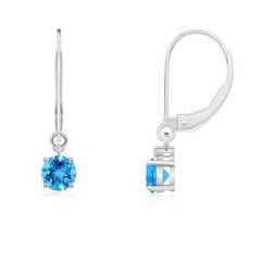 Solitaire Swiss Blue Topaz Leverback Dangle Earrings