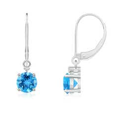 Solitaire Swiss Blue Topaz Dangle Earrings with Diamond
