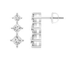 Princess-Cut Diamond Three Stone Earrings