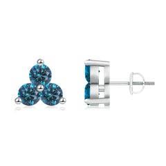 Round Enhanced Blue Diamond Three Stone Stud Earrings