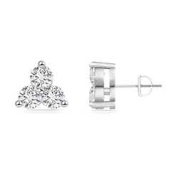 Round Diamond Three Stone Stud Earrings