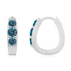Enhanced Blue Diamond Three Stone Hoop Earrings