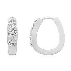Diamond Three Stone Hoop Earrings