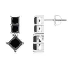 Princess-Cut Enhanced Black Diamond Drop Earrings