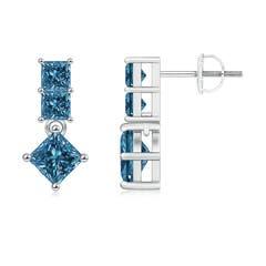 Princess-Cut Enhanced Blue Diamond Drop Earrings