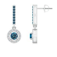 Floating Round Enhanced Blue Diamond Halo Drop Earrings
