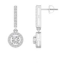 Floating Round Diamond Halo Drop Earrings