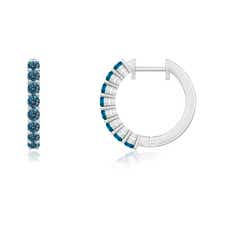 Airline-Set Enhanced Blue Diamond Hinged Hoop Earrings