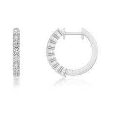 Airline-Set Diamond Hinged Hoop Earrings