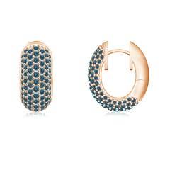Pave-Set Enhanced Blue Diamond Hoop Earrings