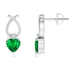 Heart Shaped Emerald Ribbon Earrings with Diamond