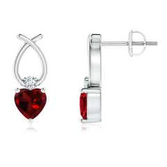 Heart Shaped Garnet Ribbon Earrings with Diamond