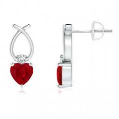 Heart Shaped Ruby Ribbon Earrings with Diamond