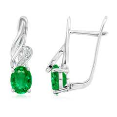 Oval Emerald Swirl Earrings with Diamond Accents
