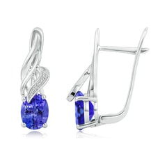 Oval Tanzanite Swirl Earrings with Diamond Accents