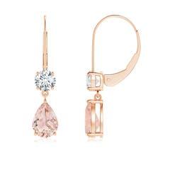 Pear Morganite Leverback Drop Earrings with Diamond